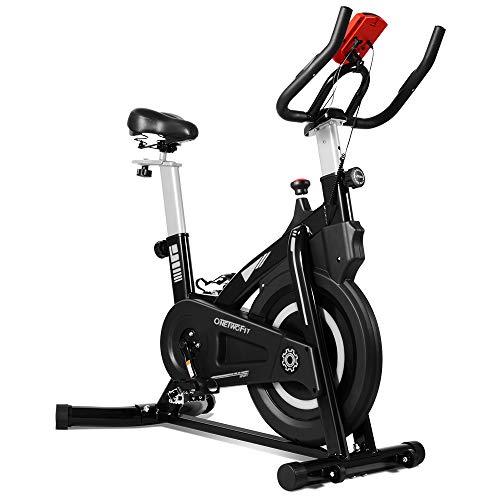 ONETWOFIT Indoor Cycling Heimtrainer Cardio Bike mit verstellbarem Lenker & Sattel, LCD Display Multifunktions-Anzeige für Zuhause OT212BW