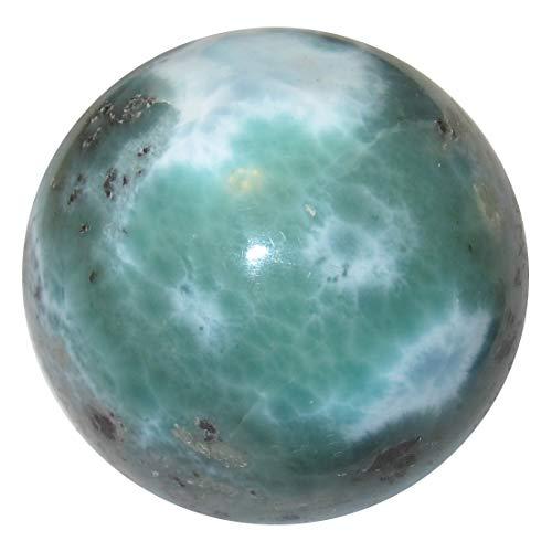Satin Crystals Larimar Sphere Sea Green Crystal Healing Ball Blue Caribbean Tropical Paradise Stone- Dominican Republic Premium P02 (1.4 Inch)