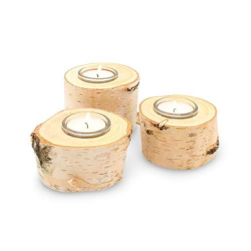 GREENHAUS Teelichthalter Birke mit Glas 5 cm 3 Stück Handarbeit aus Deutschland Birkenstamm Kerzenhalter Holz Teelicht Dekoration Holzdeko