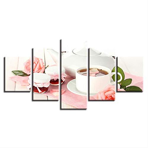 DGGDVP kunst canvas schilderij stijl muur modulaire afbeeldingen voor de woonkamer 5 panelen theepot roze rozen moderne decoratie 30x40cmx2 30x60cmx2 30x80cmx1 Met frame.