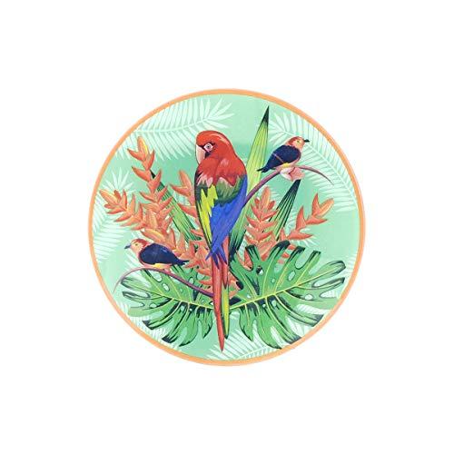 Plato Redondo Decorativo de Cristal 'Loro Multicolor' Vajillas y Cuberterías. Decoración Hogar. Centros de Mesa. Regalos Originales. 21,50 x 21,50 x 2,50 cm