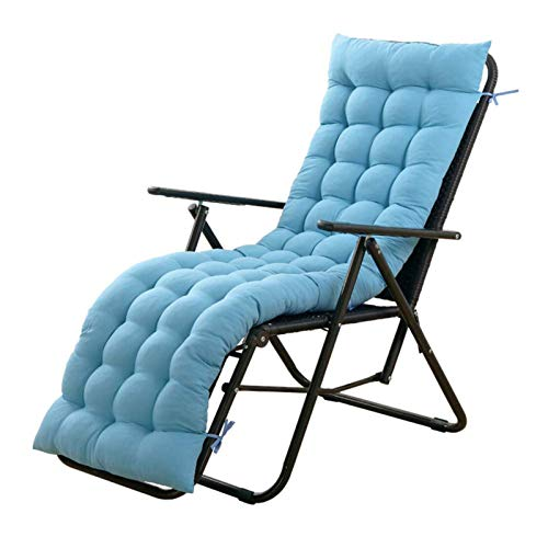 GLLSZ 2 Pieces Indoor Outdoor Chaise Cushion Thick Rocking Chair Cushion Patio Chaise Lounger Cushion Soft Cushion Sun Lounger Cushion(ONLY CUSHION)-Light Blue 165x55cm(65x22inch)