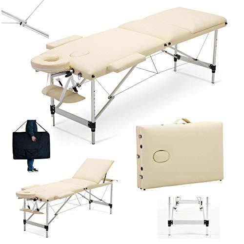 Massageliege klappbar und höhenverstellbar – Mobiler Professionelle Massagetisch kosmetikliegen 3 Zonen Aluminiumfüßen Massagebank Therapieliege - Beige