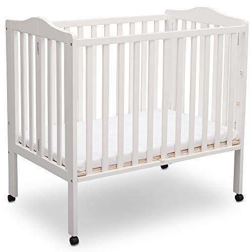 Delta Children Delta Children Folding Portable Mini Baby Crib with Mattress, Bianca White, Bianca White