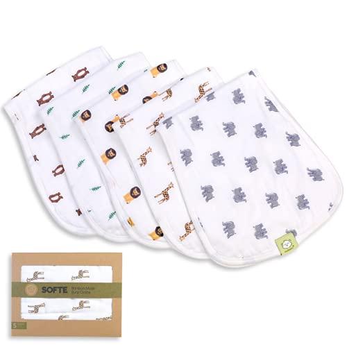5-Pack Muslin Baby Burp Cloths - Organic White Bamboo Cotton Burp Cloth - Burp Rags - Neutral Burp Clothes for Baby Girl, Boy, Newborn, Unisex Babies - Large Absorbent Muslin Burping Cloth (The Wild)