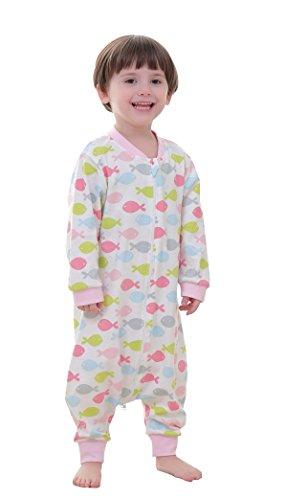 Chilsuessy Baby Sommer Schlafsack mit Füßen kleine Kinder Schlafanzug fuer Für Jungen und Mädchen von 75cm-105cm (Mehrfarbig), Fisch, Etikett80/Koerpergroesse 75-85cm