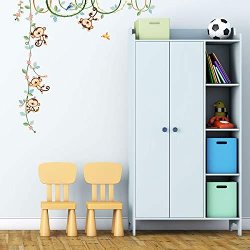 DECOWALL DW-1607N Affen Weinrebe Tiere Wandtattoo Wandsticker Wandaufkleber Wanddeko für Wohnzimmer Schlafzimmer Kinderzimmer(Mittlere)