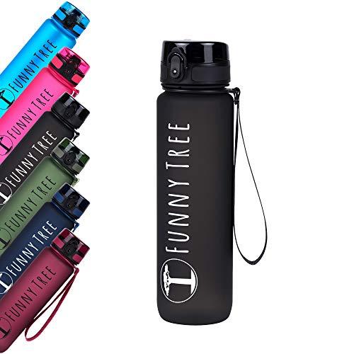Funny Tree® Trinkflasche aus Tritan. 1000ml Obsidian Black. Water Bottle BPA frei und auslaufsicher! Ideal als Sportflasche, Wasserflasche und beim Wellness, oder auf All deinen Outdoor Aktivitäten