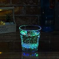 電光ホーム 光る ロック グラス 感知型 270ml レインボー クリア 電池式 LED 割れない コップ タンブラー おしゃれ プレゼント オンザロック bar お酒 パーティー