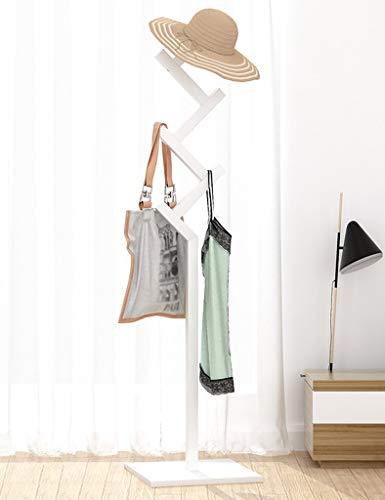 YLCJ Kleding hanger Floor Slaapkamer Woonkamer Kleding hanger Eenvoudige en goedkope Jas hanger en hoed in massief hout Creatieve Multifunctionele kleding Hoed sjaals Kledinghanger tas (Kleur: wit