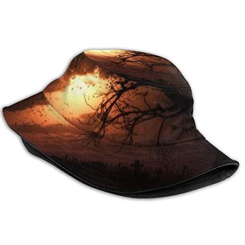 NA Baumwoll-Sonnenhut, verstaubar, für Angeln, Jagd, Reise, Köper, Eimerkappe, Sonnenaufgang, Wolken, Sonne, Vögel, Stimmung, Bäume, Himmel