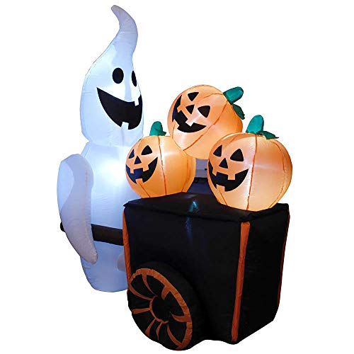 YOFIT Halloween Inflatable Pumpkin Cart Pushed by a Ghost with LED Lights, 6 FT High Novel Horror Pumpkin Ghost Cart for Halloween Activities Parties Indoor and Outdoor Decoration