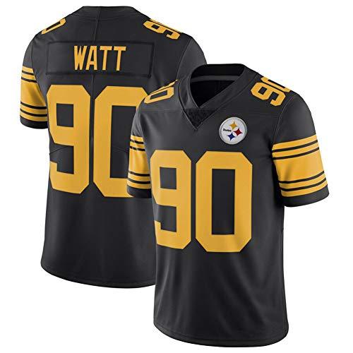 DADD Herren Rugby Trikot T.J. Watt #90 Pittsburgh Steelers American Football Training Trikots für Unisex Sport Kurzarm Sweatshirt Fitness Atmungsaktivität Gr. M, schwarz 2