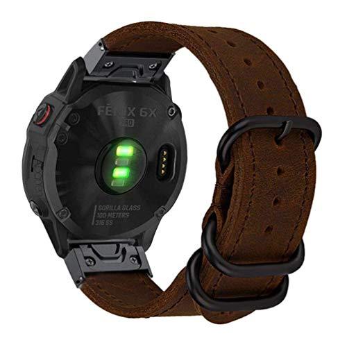 Abanen for Fenix 6X/Fenix 5X Watch Band, 26mm Quick Easy Fit Large Size Genuine Leather Men Replacement Wristband Strap for Garmin Fenix 5X Plus,Enduro,Fenix 3/3 HR,Tactix Bravo/Charlie (Brown)