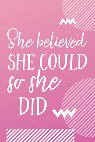 She Believed She Could So She Did: Cute Fitness Motivational Journal Workout Log Book Weight Loss Planner For Women Track Your Progress Cardio HIIT ... Her Inspirational Quote - Pink Ombre Design