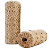 328 Ft Natural Jute Twine String Thin Ribbon Hemp Twine for Craft Plant Gift Wrapping Christmas Handmade Arts Decoration Packing String Home Decor (328 Ft (100M))