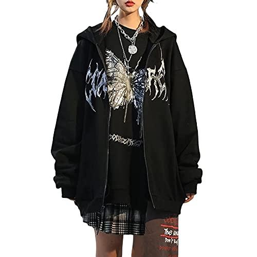 PDYLZWZY Damen Hoodie Kapuzenjacke mit Reißverschluss Lightweight Hooded Sweat Jacket Y2k Zip Up Kapuzenpullover(Schwarz-H, Large)