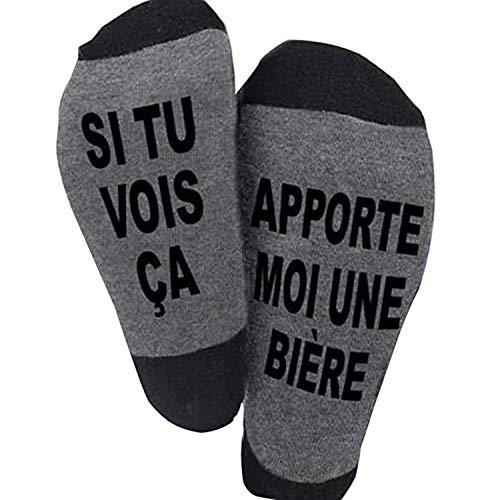 Etitulaire Funny Socks Chausettes Drôle Si Tu vois ça,Apporte Moi Une Bière Les Chausettes Cotton écrivent en Française Thick Socks Pour homme femme Cadeau de Noël (bière)