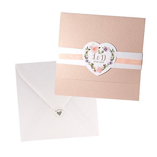 Weddix Einladungskarten Irene zur Hochzeit mit Blumen, Apricot - 3 Stück Blanko Hochzeitseinladung mit Umschlag