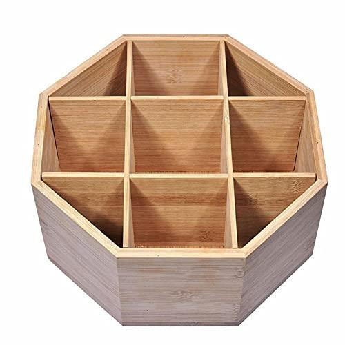 Fdjhh Caja de almacenamiento de madera multifunción, giratoria, recipiente de almacenamiento para aperitivos, adecuado para salón, cocina, dormitorio