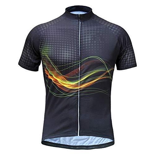Maillot à Cycliste Manches Courtes pour Hommes Noir/Maillot Top Respirant Évacuation Vélo de l'humidité, Sport séchage Rapide Vélo de Montagne VTT Vélo de Route Vélo (Black,L)
