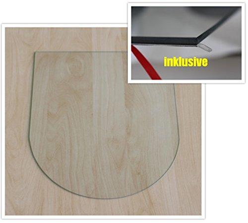 Rundbogen 100x100cm - Funkenschutzplatte Kaminbodenplatte Glasplatte f. Ofen Kaminofenunterlage (Rundbogen 100x100cm mit Silikon-Dichtung)