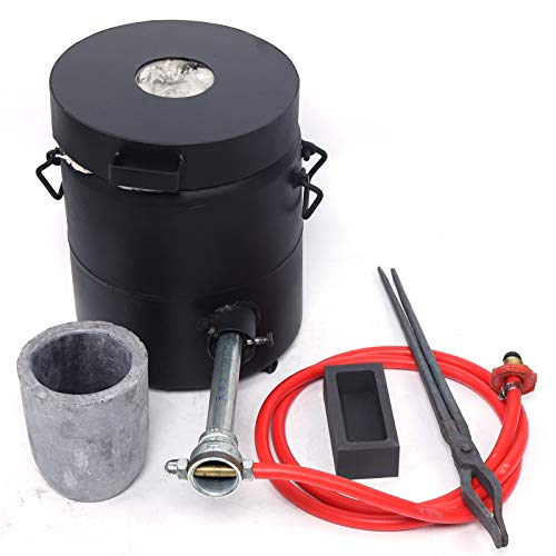 6 KG Propane Melting Furnace Kit w Graphite Crucible and Tongs 1300°C /2372°F Casting Refining Smelting for Precious Metals Gold Silver Tin Aluminum 7-in-1 Melting Casting Tool