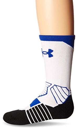 Under Armour Calcetines de baloncesto para jóvenes, 1 par, Unisex niños Niños, Calcetines, U374, Blanco/Royal, Large