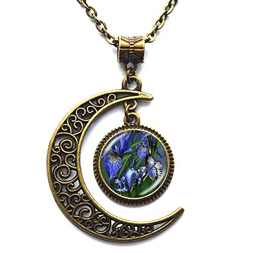 Collar hecho a mano de la flor de la pintura al óleo del cabujón de la pintura de la flor del cabujón de cristal collar de la joyería del arte, N063