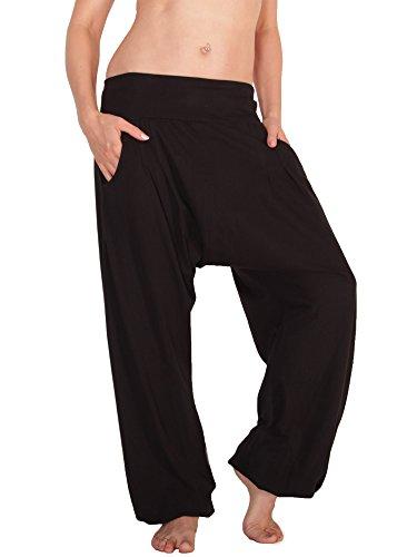 Leucht-Welten Damen Aladinhose Jersey Pumphose mit Taschen Schwarz Einheitsgröße