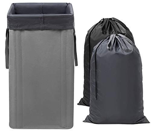 WOWLIVE Large Laundry Hamper with 2 Removable Bags 74L Foldable Laundry Basket with Handle Clothes Hamper Tall Dirty Clothes Bag for Traveling Collapsable & Easy to Install Grey (24.5x13x13 In)