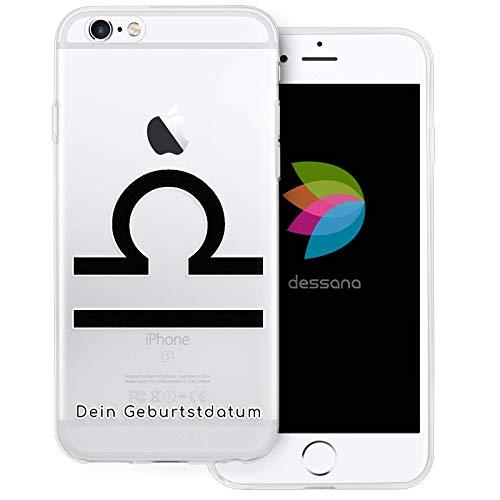dessana sterrenbeeld met datum transparante silicone TPU beschermhoes 0,7 mm dunne mobiele telefoon soft case cover tas voor Apple, Apple iPhone 6/6S, Weegschaal verjaardag