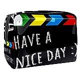 Bolsa de cosméticos de PVC, color negro, con cremallera, bolsa organizadora para viajes, baño y organización, Claqueta negra con texto en inglés 'Have a Nice Day', 18.5x7.5x13cm/7.3x3x5.1in,