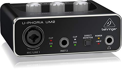 Behringer UM2 Interface U-Phoria + Audibax Berlín 1800 Micrófono Estudio + Accesorios