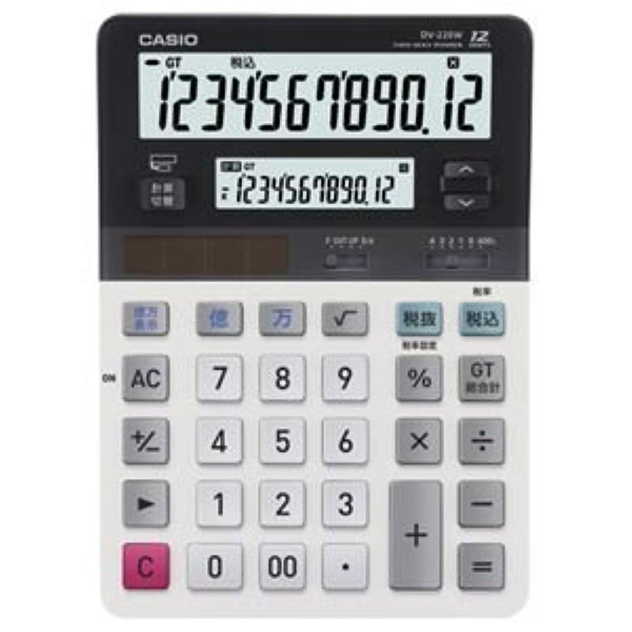 読みやすさ徹底の間で(まとめ) カシオ CASIO ツイン液晶電卓 ミエ2くん 12桁+12桁 デスクタイプ DV-220W-N 1台 【×2セット】 ds-1575145