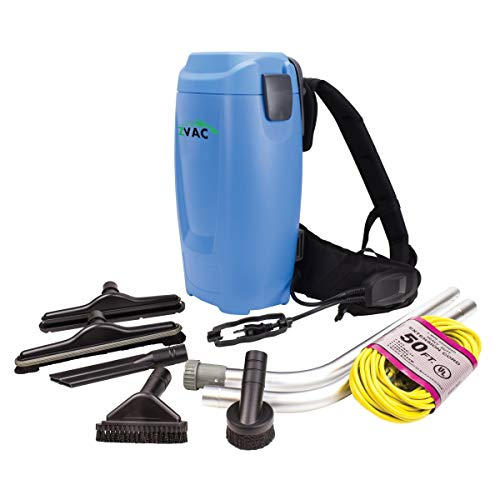 ZVac Backpack Vacuum Cleaner Commercial Grade ZBV-2 1.5 Gal. HEPA Filtration with Complete Attachment Tool Set, 50' Power Cable, & Ergonomic Vacuum Cleaner Harness