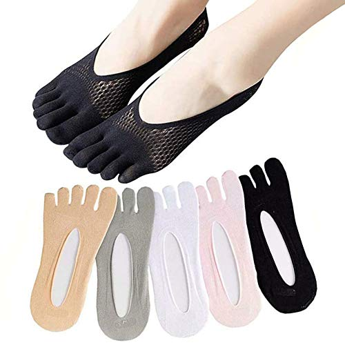 SIDUISDH 5 Pairs Five Toes Breathable Socks, Orthopedic Compression Socks Women Toe Socks Ultra Low Cut Liner with Gel Tab (5*White)