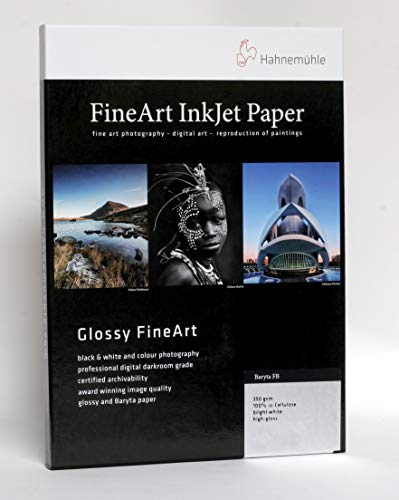 Hahnemühle 10641674 Digital FineArt Baryta FB Papier, 350 g/m², DIN A3, 297 x 420 mm, hellweiß