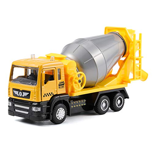 haomsj Concrete Truck Toys Alloy Diecast Cars Construction Cement Mixer Truck wiht Light and Sound , Toy Trucks for Boys Age3,4,5,6 (1PC) (Mixer Truck)