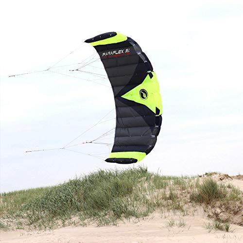 """Wolkenstürmer® Paraflex Trainer 3-Leiner Lenkmatte 3.1 Neongrün - """"Ready to Fly"""" Kite Drachen inkl. Trainerbar - Trainer Kite - Windtrainer zum Mountainboard Fahren"""