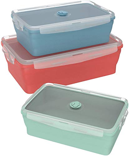 Wamery Silicone Food Storage Containers Bpa Free Small Medium & Large Leftover Meal Prep Foldable Space Saving Collapsible Food Containers with Airtight Lids Kitchen Microwave Freezer Dishwasher Safe