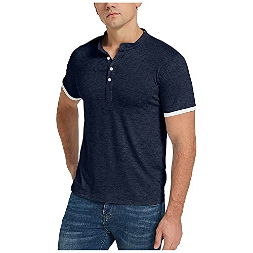 Camiseta para Hombre Casual Color Sólido Cuello Medio Abierto Costura Superior Puño Manga Corta Camiseta Delgada Camiseta de Gran Tamaño