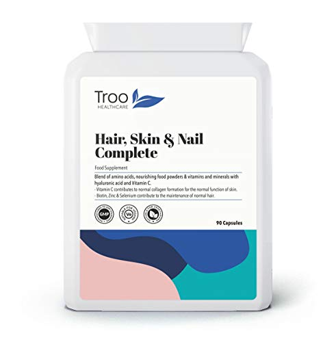 Hair, Skin & Nails Complete 90 Vegan Capsules - Advanced Supplement for Men & Women to Support Collagen Formation and Hair Maintenance