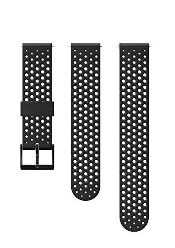 Suunto, Bracelet de remplacement Original pour Toutes les Montres Suunto 3 Fitness, Silicone, Longueur : 21,7 cm, Largeur : 20 mm, Noir/Noir, Broches de fixation incluses, SS050177000