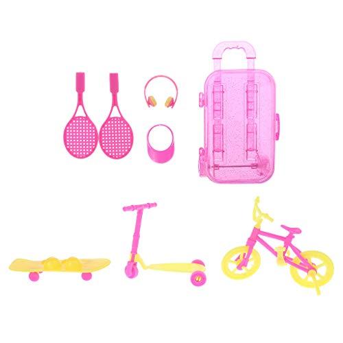 Exing Zubehör für Puppenhaus, Trolley, Tennisschläger, Kopfhörer, Sonnenhut, Scooter, Skateboard, Fahrrad, Zubehör, Mini-Barbie, 7 Stück, Kunststoff, Livraison Aléatoire, 24 cm