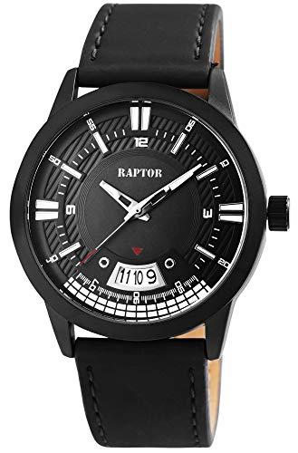 Raptor Herren-Uhr Echt Leder Armband Datum Leuchtzeiger Analog Quarz RA20269 (anthrazit)