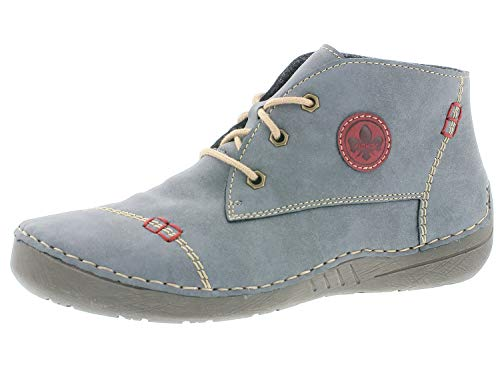 Rieker Damen Stiefeletten 52540, Frauen Schnürstiefelette, Women Freizeit leger Stiefel Chukka Boot halbstiefel,Jeans/Wine,41 EU / 7.5 UK