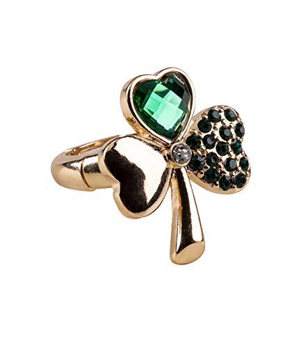 SIX Glänzender elastischer Ring mit grünen facettierten Strasssteinen, St. Patrick's Kleeblatt (780-311)