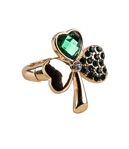 SIX One Elastic Shamrock Ring in Gold and Green with Facetted Shiny Green Rhinestones (780-311)