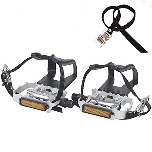 YBEKI NAMUCUO Bike Pedals with Clips and Straps, for Exercise Bike, Spin Bike and Outdoor Bicycles, 9/16-Inch Spindle Resin/Alloy Bicycle Pedals, Half Year Warranty (Silver)